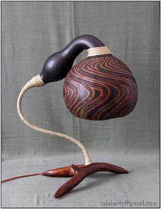 TABLE LAMP III – WAVY COLOURS Diameter of the gourd is 21 cm, and lamp is 45 cm high.Lamp was finished in October 2009.