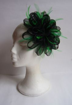 Black fascinator green feathers headpiece hat / by TocameMika, $90.00