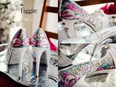#pink, #green, and #blue #personalized #painted #wedding #shoes, by #Figgie | www.figgieshoes.com