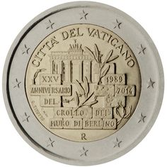 2014 Vatican City commemorative € coin: 25th anniversary of the fall of the Berlin Wall. The design depicts some bricks of the partially collapsed Berlin Wall in the foreground, with the wording 'XXV ANNIVERSARIO DEL CROLLO DEL MURO DI BERLINO 1989 2014' written within the bricks. An olive branch can be seen in the centre, in a gap between the bricks and a piece of barbed wire, and the Brandenburg Gate appears in the background.  Mintage 103,000