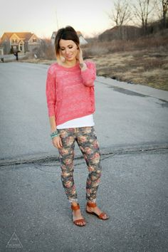 Coral sweater, turquoise accents and floral denim