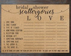 Bridal Shower Scattegories & Etsy Source by lindanachbar Bridal Shower Activities, Bridal Shower Decorations, Bridal Shower Favors, Bridal Shower Invitations, Bridal Showers, Reception Activities, Baby Showers, Bridal Shower Gifts For Bride, Bridal Shower Rustic