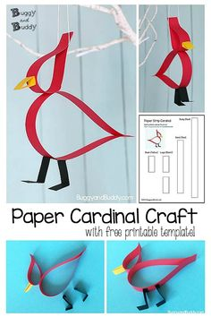 Adorable Cardinal Craft Using Just Paper Strips!, Adorable Cardinal Craft Using Just Paper Strips! Paper Cardinal Craft for Kids- Easy and cute bird paper strip project with free printable template. Bird Crafts, Fun Diy Crafts, Animal Crafts, Flower Crafts, Diy Craft Projects, Creative Crafts, Paper Crafts, Paper Art And Craft, Craft Tutorials
