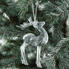 Buy John Lewis Snowdrift Acrylic Reindeer Tree Decoration, Clear | John Lewis