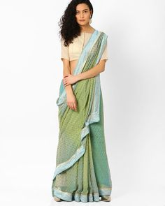 Printed Saree with Contrast Border