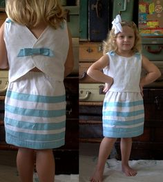 Child's 2 piece linen outfit: top and skirt made from vintage fabric and trim =====> $45.00