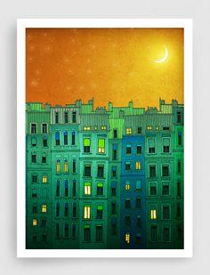 SALE, Paris illustration - Golden night II. - Fine art illustration,Fine art prints,Art Posters,Paris art,Paris decor,Wall art,Green,Orange