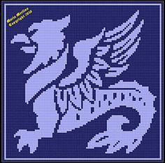 Ravelry: Crochet Winged Gryphon Dragon Afghan Chart Graph Tapestry pattern by Maria Merlino