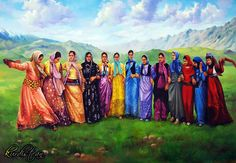 """"""" work painting of Dilshad Naif 1978 born in Duhok south of , He lives and works now in Duhok. Palestine Art, The Kurds, Iran Travel, Iranian Women Fashion, Persian Culture, Trash Polka Tattoo, Kurdistan, Central Asia, Art Pictures"""