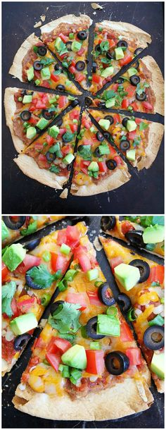Crispy Mexican Tortilla Pizza Recipe on twopeasandtheirpod.com This easy pizza only takes 15 minutes to make! It is a dinner favorite at our house!