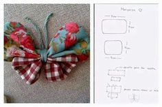 butterfly Fabric Tutorial, such a lovely way to make a fabric butterfly yoyo butterfly with pattern circles tied in the middle? Perfect to add to headband, purse or make it larger for the wall. nice idea as a gift topper Sewing Hacks, Sewing Crafts, Sewing Projects, Fabric Butterfly, Butterfly Pattern, Felt Flowers, Fabric Flowers, Fleurs Diy, Fabric Origami