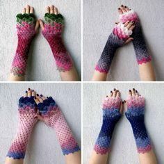 Gants de dragon : Ornés de superbes couleurs et d'écailles de dragon réalisées en crochet, ces gants sont absolument magnifiques.
