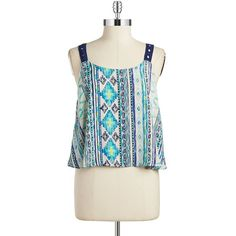 Vintage Havana Geometric Print Tank ($22) ❤ liked on Polyvore featuring tops, ombre tank, ombre top, crochet tank top, pattern tank top and crochet top