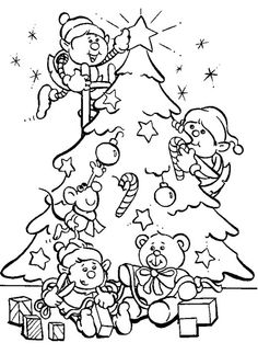 Disney Christmas Kids Very Happy With There Christmas Tree Coloring Page