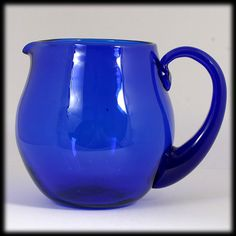 Blenko Cobalt Blue Art Glass Pitcher Hand Blown - My grandmother had one like this and a shelf fell and it broke.