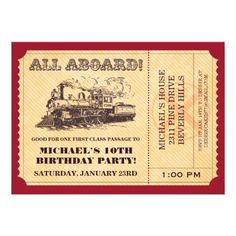 All aboard! This train ticket invitation is customizable, and can be used for just about any type of party. Perfect for a birthday, or train theme party. Ticket Invitation, Birthday Invitation Templates, Birthday Party Invitations, Invitation Cards, Invitations Online, Custom Invitations, Wedding Invitation, Trains Birthday Party, Train Party