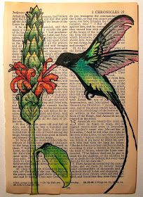 Art On Vintage Bible Pages Pen and Ink, Colored Pencils Artist: Lorrie Bennett