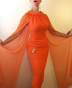 """A little to this amazing pumpkin orange rayon crepe evening gown with silk chiffon wings by """"LB Samuels! 1960s Fashion, Vintage Fashion, Orange Gown, One Shoulder Gown, Moda Vintage, Orange Fabric, Wiggle Dress, Silk Chiffon, Costume Design"""