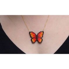 Braided Butterfly Necklace Miyuki Delicas Black Orange Beads - Our . - Sophie Valenteens - - Braided Butterfly Necklace Miyuki Delicas Black Orange Beads - Our . Seed Bead Patterns, Beading Patterns, Bead Jewellery, Beaded Jewelry, Bead Crafts, Jewelry Crafts, Beaded Earrings, Beaded Bracelets, Brick Stitch Earrings
