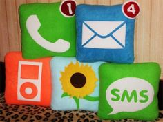 A set of cool looking iPhone application icon pillows have surfaced on the interwebs. These famous iPhone icons have been found on stuff such as coasters, paperclips . Cute Pillows, Throw Pillows, Best Interior Design Websites, Interior Ideas, Iphone Icon, Iphone App, Sewing Pillows, Best Pillow, Best Christmas Gifts