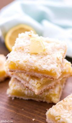 These Coconut Lemon Bars are sweet, a little tangy, and have a coconut shortbread crust. Homemade lemon bars are one of my favorite spring desserts, and these Coconut Lemon Bars are a fun twist on the classic lemon bar recipe! Easter dessert perhaps? Citrus Recipes, Coconut Recipes, Baking Recipes, Coconut Desserts, Lemon Desserts, Sweet Recipes, Yummy Recipes, Vegetarian Recipes, Healthy Recipes