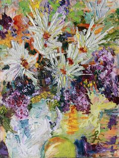 #Chrysanthemums And #Lilacs Still Life #Original #Oil #Painting