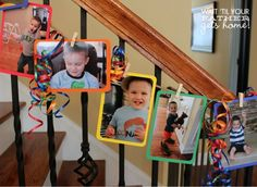 Birthday Photo Banner.  I like this idea to use for a graduation party.  Would look cute having pics hung on the fireplace of her high school activities.
