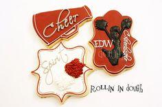 Cheerleader Cookies, Cheer Cookies, Cheerleader, Megaphone, Pom Poms - 1 Dozen on Etsy, $37.00