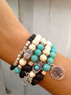 Hamsa, Buddha, Tree of LIfe Bracelet Set with Lava,  Amazonite, Howlite Beaded- Religious Jewelry for Prayer