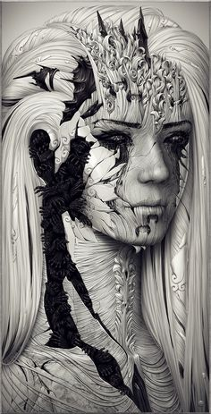 ✿ Tittle: Echo ~ Alexander Fedosov ~ Location: Zaporizhzhya, Ukraine Fields: Digital Art, Illustration, Painting ✿ B/W Anime Art Fantasy, 3d Fantasy, Fantasy Kunst, Art And Illustration, Graphic Illustrations, Graphic Artwork, Illustration Fashion, Art Amour, Fine Art