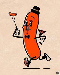 Vintage Hot Dog Advertisement