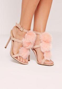 0fd77d94378423 Missguided - Pom Pom T Bar Heeled Sandals Pink Topánky Na Opätkoch