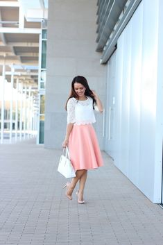 Peach skirt and Cropped Lace Tee (plus some sales and reviews).  Details here: http://www.stylishpetite.com/2014/02/peach-and-cropped-lace-tee-plus-some.html