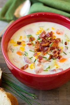 Creamy Ham Potato and Corn Chowder @FoodBlogs