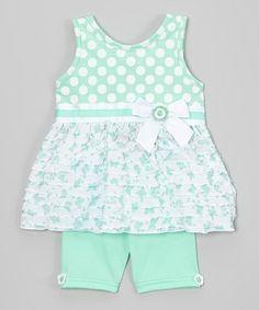Mint Polka Dot Ruffle Top & Bike Shorts - Infant