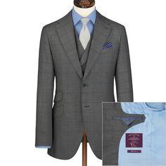 Grey windowpane Italian wool cashmere slim fit luxury suit | Men's business suits from Charles Tyrwhitt | CTShirts.com