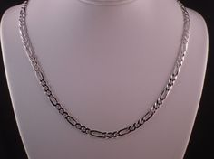 """ITALY REAL 925 SOLID STERLING SILVER DIAMOND CUT FIGARO LINK CHAIN NECKLACE 20"""" #AuthenticItalianTopQualityCraftsmanship #Chain"""