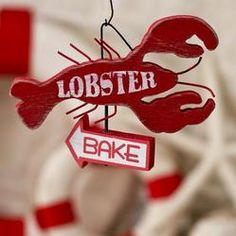 "vintage look wood and wire ""Lobster Bake"" ornament sign"