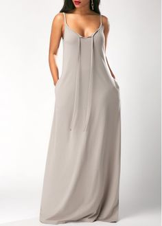Pocket Grey Spaghetti Strap Maxi Cocoon Cami Dress, casual, modest, simple cami dress, free shipping worldwide at rosewe.com, check it now.