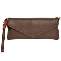 Clutch   Mini-Bag aus fettgegerbtes weiches Vollrindleder von Shalimar, Farbe:Dunkelbraun