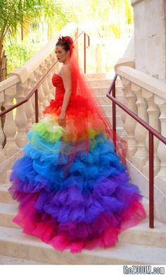 Rainbow Wedding Brides Dress (sorry but this sort of makes me laugh) ツ