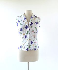 1950s floral print cotton sleeveless blouse, from Shirt 'n Sweet