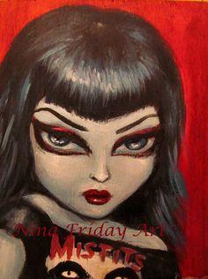Le MISFIT gros yeux sexy poussin Goth vêtu Misfits chemise giclée print par Nina vendredi