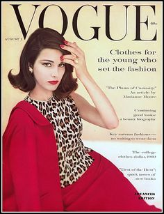 Model Pia Rossilli Kazan wearing a three-piece suit of bright red knitted wool with leopard print sleeveless blouse by Kimberly , cover photo by Karen Radkai, Vogue, August 1, 1960
