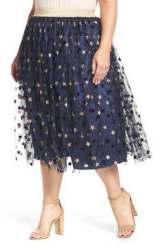 0dcf7389c1701 ELVI Star Print Tulle Skirt (Plus Size)