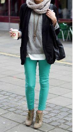 mix it! #turquoise #pants