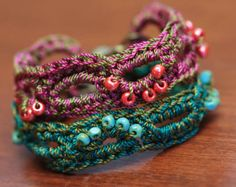 CROCHET PATTERN Beaded Bracelet Pattern Crochet by thevelvetheart
