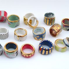 Look at my rings. Ceramic beauties from Ruby Pilven.
