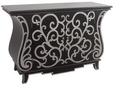 Black Cabinet w/ silver Scroll Detail Large Interior Shelf Hardwood New Free shp #Transitional