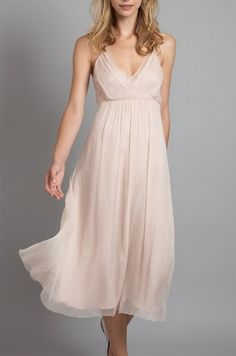 tea length dress - blush, cream bridesmaid dress inspiration - what do you think of this? I like the length and the material!